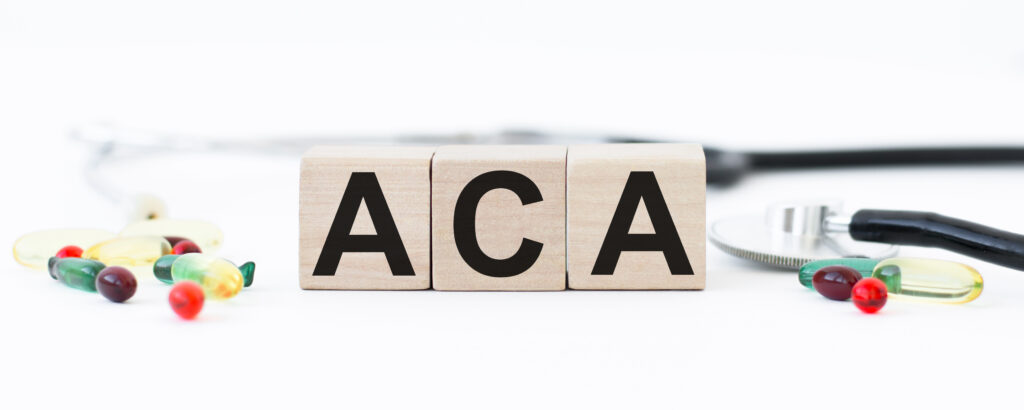 Graphic showing letters ACA, representing the affordable care act for possible health insurance for full time RVers